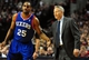Jan. 04, 2014; Portland, OR, USA; Philadelphia 76ers head coach Brett Brown speaks with shooting guard Elliot Williams (25) during the first quarter of the game against the Portland Trail Blazers at the Moda Center. Mandatory Credit: Steve Dykes-USA TODAY Sports