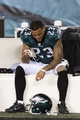 Jan 4, 2014; Philadelphia, PA, USA; Philadelphia Eagles safety Patrick Chung (23) sits on the bench after the game against the New Orleans Saints during the 2013 NFC wild card playoff football game at Lincoln Financial Field. The Saints defeated the Eagles 26-24. Mandatory Credit: Howard Smith-USA TODAY Sports