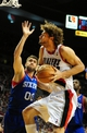 Jan. 04, 2014; Portland, OR, USA; Portland Trail Blazers center Robin Lopez (42) drives to the basket on Philadelphia 76ers center Spencer Hawes (00) during the fourth quarter of the game at the Moda Center. The Sixers won the game 101-99. Mandatory Credit: Steve Dykes-USA TODAY Sports