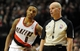 Jan. 04, 2014; Portland, OR, USA; Portland Trail Blazers point guard Damian Lillard (0) talks with referee Gary Zielinski (59) during the third quarter of the game against the Portland Trail Blazers at the Moda Center. The Sixers won the game 101-99. Mandatory Credit: Steve Dykes-USA TODAY Sports