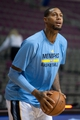 Jan 5, 2014; Auburn Hills, MI, USA; Memphis Grizzlies power forward James Johnson warms up prior to the game against the Detroit Pistons at The Palace of Auburn Hills. Mandatory Credit: Tim Fuller-USA TODAY Sports