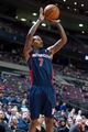 Jan 5, 2014; Auburn Hills, MI, USA; Detroit Pistons point guard Brandon Jennings (7) shoots the ball during the first quarter against the Memphis Grizzlies at The Palace of Auburn Hills. Mandatory Credit: Tim Fuller-USA TODAY Sports
