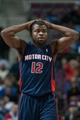 Jan 5, 2014; Auburn Hills, MI, USA; Detroit Pistons point guard Will Bynum (12) walks on the court during the fourth quarter against the Memphis Grizzlies at The Palace of Auburn Hills. The Grizzlies won 112-84. Mandatory Credit: Tim Fuller-USA TODAY Sports