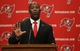 Jan 6, 2014; Tampa, FL, USA; Tampa Bay Buccaneers head coach Lovie Smith is introduced as head coach during a press conference at One Buccaneer Place. Mandatory Credit: Kim Klement-USA TODAY Sports