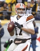 Dec 29, 2013; Pittsburgh, PA, USA; Cleveland Browns quarterback Jason Campbell (17) looks to pass against the Pittsburgh Steelers during the fourth quarter at Heinz Field. The Steelers won 20-7. Mandatory Credit: Charles LeClaire-USA TODAY Sports