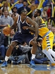 Jan 9, 2014; Denver, CO, USA; Denver Nuggets power forward J.J. Hickson (7) guards Oklahoma City Thunder center Kendrick Perkins (5) in the first quarter at the Pepsi Center. Mandatory Credit: Isaiah J. Downing-USA TODAY Sports