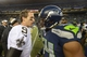 Jan 11, 2014; Seattle, WA, USA; New Orleans Saints quarterback Drew Brees (9) shakes hands with Seattle Seahawks middle linebacker Bobby Wagner (54) after the 2013 NFC divisional playoff football game at CenturyLink Field. The Seahawks defeated the Saints 23-15. Mandatory Credit: Kirby Lee-USA TODAY Sports