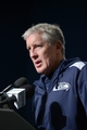 Jan 11, 2014; Seattle, WA, USA; Seattle Seahawks head coach Pete Carroll addresses the media after the 2013 NFC divisional playoff football game against the New Orleans Saints at CenturyLink Field. The Seahawks defeated the Saints 23-15. Mandatory Credit: Kirby Lee-USA TODAY Sports