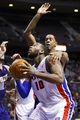Jan 11, 2014; Auburn Hills, MI, USA; Detroit Pistons power forward Greg Monroe (10) looks to shoot defended by Phoenix Suns power forward Channing Frye (8) in the third quarter at The Palace of Auburn Hills. Detroit won 110-108. Mandatory Credit: Rick Osentoski-USA TODAY Sports
