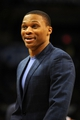 Jan 11, 2014; Oklahoma City, OK, USA; Oklahoma City Thunder point guard Russell Westbrook (0) reacts to a play in action against the Milwaukee Bucks during the second quarter at Chesapeake Energy Arena. Mandatory Credit: Mark D. Smith-USA TODAY Sports