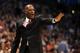 Jan 11, 2014; Oklahoma City, OK, USA; Milwaukee Bucks head coach Larry Drew reacts to a play in action against the Oklahoma City Thunder at Chesapeake Energy Arena. Mandatory Credit: Mark D. Smith-USA TODAY Sports