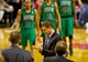 Jan 11, 2014; Portland, OR, USA; Boston Celtics head coach Brad Stevens reacts after calling a timeout against the Portland Trail Blazers at the Moda Center. Mandatory Credit: Craig Mitchelldyer-USA TODAY Sports