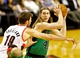 Jan 11, 2014; Portland, OR, USA; Boston Celtics center Kelly Olynyk (41) looks to pass around Portland Trail Blazers center Joel Freeland (19) at the Moda Center. Mandatory Credit: Craig Mitchelldyer-USA TODAY Sports
