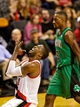 Jan 11, 2014; Portland, OR, USA; Portland Trail Blazers shooting guard Wesley Matthews (2) reacts after missing a shot against the Boston Celtics at the Moda Center. Mandatory Credit: Craig Mitchelldyer-USA TODAY Sports
