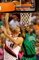 Jan 11, 2014; Portland, OR, USA; Portland Trail Blazers center Robin Lopez (42) shoots over Boston Celtics small forward Jeff Green (8) at the Moda Center. Mandatory Credit: Craig Mitchelldyer-USA TODAY Sports