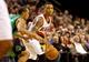 Jan 11, 2014; Portland, OR, USA; Portland Trail Blazers point guard Damian Lillard (0) looks to pass against the Boston Celtics at the Moda Center. Mandatory Credit: Craig Mitchelldyer-USA TODAY Sports