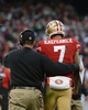 December 8, 2013; San Francisco, CA, USA; San Francisco 49ers head coach Jim Harbaugh (left) instructs quarterback Colin Kaepernick (7) during the fourth quarter against the Seattle Seahawks at Candlestick Park. The 49ers defeated the Seahawks 19-17. Mandatory Credit: Kyle Terada-USA TODAY Sports