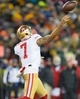 Jan 5, 2014; Green Bay, WI, USA; San Francisco 49ers quarterback Colin Kaepernick (7) during the the 2013 NFC wild card playoff football game against the Green Bay Packers at Lambeau Field.  San Francisco won 23-20.  Mandatory Credit: Jeff Hanisch-USA TODAY Sports