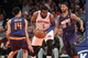 Jan 13, 2014; New York, NY, USA; New York Knicks power forward Amar'e Stoudemire (1) controls the ball against Phoenix Suns shooting guard Gerald Green (14) and power forward Markieff Morris (11) during the second quarter of a game at Madison Square Garden. Mandatory Credit: Brad Penner-USA TODAY Sports
