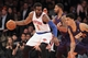Jan 13, 2014; New York, NY, USA; New York Knicks power forward Amar'e Stoudemire (1) controls the ball against Phoenix Suns power forward Markieff Morris (11) and shooting guard Gerald Green (14) during the second quarter of a game at Madison Square Garden. Mandatory Credit: Brad Penner-USA TODAY Sports