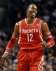 Jan 13, 2014; Boston, MA, USA; Houston Rockets power forward Dwight Howard (12) reacts after a basket against the Boston Celtics during the first quarter at TD Garden. Mandatory Credit: Winslow Townson-USA TODAY Sports