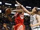 Jan 13, 2014; Boston, MA, USA; Houston Rockets power forward Terrence Jones (6) tries to get to the basket past Boston Celtics center Kelly Olynyk (41) during the first quarter at TD Garden. Mandatory Credit: Winslow Townson-USA TODAY Sports