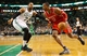 Jan 13, 2014; Boston, MA, USA; Houston Rockets power forward Dwight Howard (12) drives on Boston Celtics power forward Jared Sullinger (7) during the second half of Houston's 104-92 win at TD Garden. Mandatory Credit: Winslow Townson-USA TODAY Sports