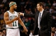 Jan 13, 2014; Boston, MA, USA; Boston Celtics head coach Brad Stevens talks with Boston Celtics point guard Jerryd Bayless (11) during the second half of their 104-92 loss to the Houston Rockets at TD Garden. Mandatory Credit: Winslow Townson-USA TODAY Sports