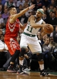 Jan 13, 2014; Boston, MA, USA; Boston Celtics point guard Jerryd Bayless (11) looks for an opening around Houston Rockets point guard Jeremy Lin (7) during the second half of Houston's 104-92 win at TD Garden. Mandatory Credit: Winslow Townson-USA TODAY Sports