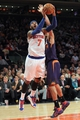 Jan 13, 2014; New York, NY, USA; New York Knicks small forward Carmelo Anthony (7) drives on Phoenix Suns shooting guard Gerald Green (14) during the third quarter of a game at Madison Square Garden. The Knicks defeated the Suns 98-96 in overtime. Mandatory Credit: Brad Penner-USA TODAY Sports