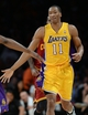 Jan 14, 2014; Los Angeles, CA, USA; Los Angeles Lakers shooting guard Wesley Johnson (11) heads down court after a basket in the first half of the game against the Cleveland Cavaliers at Staples Center. Mandatory Credit: Jayne Kamin-Oncea-USA TODAY Sports