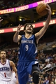 Jan 6, 2014; Philadelphia, PA, USA; Minnesota Timberwolves guard Ricky Rubio (9) shoots a layup during the third quarter against the Philadelphia 76ers at the Wells Fargo Center. The Timberwolves defeated the Sixers 126-95. Mandatory Credit: Howard Smith-USA TODAY Sports