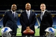Jan 15, 2014; Detroit, MI, USA; Detroit Lions general manager Martin Mayhew (left) , head coach Jim Caldwell and president Tom Lewand pose for a photo during a press conference at Ford Field. Mandatory Credit: Andrew Weber-USA TODAY Sports