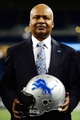 Jan 15, 2014; Detroit, MI, USA; Detroit Lions head coach Jim Caldwell holds a football helmet as he is introduced at a press conference at Ford Field. Mandatory Credit: Andrew Weber-USA TODAY Sports