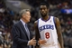 Jan 15, 2014; Philadelphia, PA, USA; Philadelphia 76ers head coach Brett Brown talks with guard Tony Wroten (8) during the third quarter against the Charlotte Bobcats at the Wells Fargo Center. The Sixers defeated the Bobcats 95-92. Mandatory Credit: Howard Smith-USA TODAY Sports