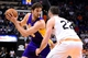 Jan 15, 2014; Phoenix, AZ, USA; Los Angeles Lakers center Pau Gasol (16) handles the ball against the Phoenix Suns forward Miles Plumlee (22) in the first half at US Airways Center. Mandatory Credit: Jennifer Stewart-USA TODAY Sports