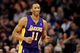 Jan 15, 2014; Phoenix, AZ, USA; Los Angeles Lakers guard Wesley Johnson (11) runs up the court in the second half of the game against the Phoenix Suns at US Airways Center. The Suns won 121-114. Mandatory Credit: Jennifer Stewart-USA TODAY Sports