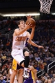 Jan 15, 2014; Phoenix, AZ, USA; Phoenix Suns guard Goran Dragic (1) shoots the ball against the Los Angeles Lakers in the second half at US Airways Center. The Suns won 121-114. Mandatory Credit: Jennifer Stewart-USA TODAY Sports