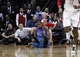 Jan 16, 2014; Houston, TX, USA; Oklahoma City Thunder small forward Kevin Durant (35) is knocked to the floor during the fourth quarter against the Houston Rockets at Toyota Center. Mandatory Credit: Andrew Richardson-USA TODAY Sports