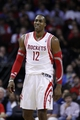 Jan 16, 2014; Houston, TX, USA; Houston Rockets power forward Dwight Howard (12) reacts to a play during the fourth quarter against the Oklahoma City Thunder at Toyota Center. Mandatory Credit: Andrew Richardson-USA TODAY Sports