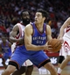 Jan 16, 2014; Houston, TX, USA; Oklahoma City Thunder power forward Nick Collison (4) is defended by Houston Rockets shooting guard James Harden (13) during the fourth quarter at Toyota Center. Mandatory Credit: Andrew Richardson-USA TODAY Sports