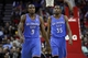 Jan 16, 2014; Houston, TX, USA; Oklahoma City Thunder power forward Serge Ibaka (9) and small forward Kevin Durant (35) walk on the court during the fourth quarter against the Houston Rockets at Toyota Center. Mandatory Credit: Andrew Richardson-USA TODAY Sports