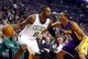 Jan 17, 2014; Boston, MA, USA; Boston Celtics small forward Jeff Green (8) works the ball against Los Angeles Lakers shooting guard Wesley Johnson (11) in the first quarter at TD Garden. Mandatory Credit: David Butler II-USA TODAY Sports