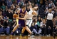 Jan 17, 2014; Boston, MA, USA; Los Angeles Lakers center Pau Gasol (16) works the ball against Boston Celtics center Kelly Olynyk (41) in the second half at TD Garden. The Los Angeles Lakers defeated the Celtics 107-104. Mandatory Credit: David Butler II-USA TODAY Sports