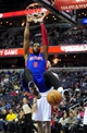 Jan 18, 2014; Washington, DC, USA; Detroit Pistons center Andre Drummond (0) dunks the ball in the first quarter against the Washington Wizards at Verizon Center. Mandatory Credit: Evan Habeeb-USA TODAY Sports