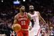 Jan 18, 2014; Houston, TX, USA; Milwaukee Bucks guard O.J. Mayo (0) drives past Houston Rockets guard James Harden (13) during the first half at Toyota Center. Mandatory Credit: Soobum Im-USA TODAY Sports