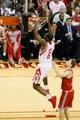 Jan 18, 2014; Houston, TX, USA; Houston Rockets forward Terrence Jones (6) dunks as Milwaukee Bucks guard Luke Ridnour (right) looks on during the first half at Toyota Center. Mandatory Credit: Soobum Im-USA TODAY Sports
