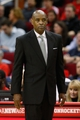 Jan 18, 2014; Houston, TX, USA; Milwaukee Bucks head coach Larry Drew watches from the sideline during the first half against the Houston Rockets at Toyota Center. Mandatory Credit: Soobum Im-USA TODAY Sports