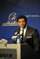 Jan 19, 2014; Seattle, WA, USA; Seattle Seahawks quarterback Russell Wilson (3) addresses the media after the 2013 NFC Championship football game against the San Francisco 49ers at CenturyLink Field. Mandatory Credit: Steven Bisig-USA TODAY Sports