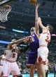 Jan 20, 2014; Chicago, IL, USA; Los Angeles Lakers center Pau Gasol (16) shoots the ball against Chicago Bulls small forward Mike Dunleavy (34) during the first half at United Center. Mandatory Credit: Mike DiNovo-USA TODAY Sports